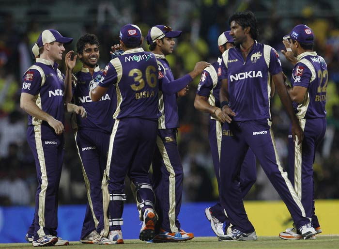 Iqbal Abdulla celebrates with teammates the dismissal of Murali Vijay during their IPL match between Chennai Super Kings and Kolkata Knight Riders in Chennai. (AP Photo)