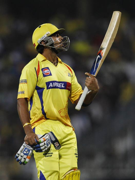 Murali Vijay reacts as he leaves the ground after losing his wicket during the IPL match between Chennai Super Kings and Kolkata Knight Riders in Chennai. (AP Photo)