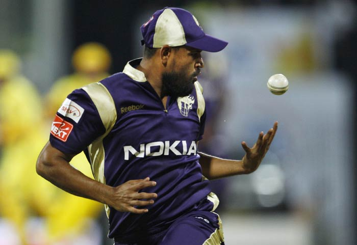 Yusuf Pathan drops a catch of Suresh Raina shot during the IPL match between Chennai Super Kings and Kolkata Knight Riders in Chennai. (AP Photo)