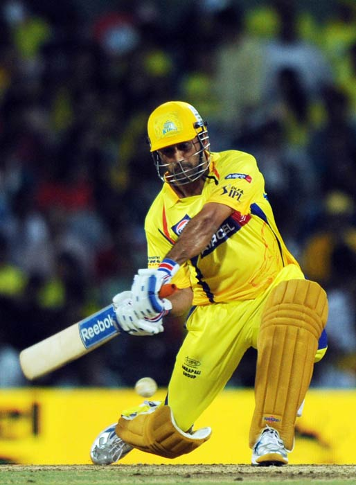 Mahendra Singh Dhoni plays a shot during the IPL Twenty20 match between Chennai Super Kings and Kolkata Knight Riders at the M.A. Chidambaram Stadium in Chennai. (AFP Photo)
