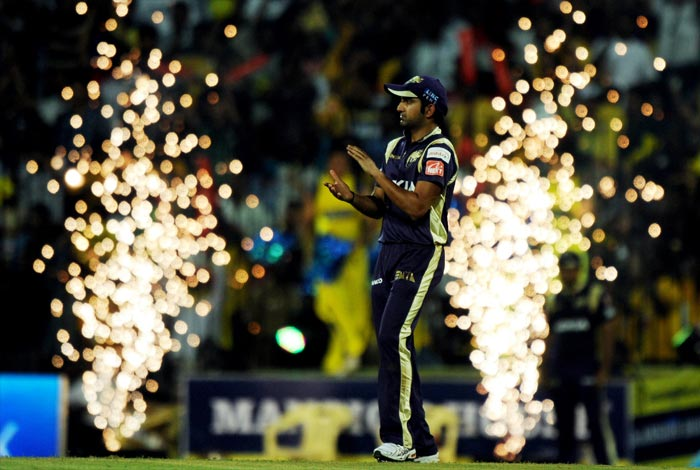Kolkata Knight Riders captain Gautam Gambhir cheers up his team during the IPL Twenty20 match against Chennai Super Kings at the M.A. Chidambaram Stadium in Chennai. (AFP PHOTO)