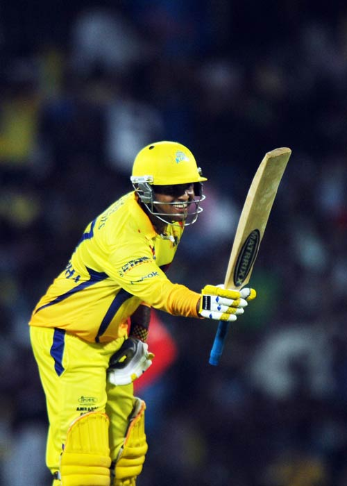 Anirudha Srikkanth celebrates his half-century during the IPL Twenty20 match between Chennai Super Kings and Kolkata Knight Riders at the M.A. Chidambaram Stadium in Chennai. (AFP Photo)