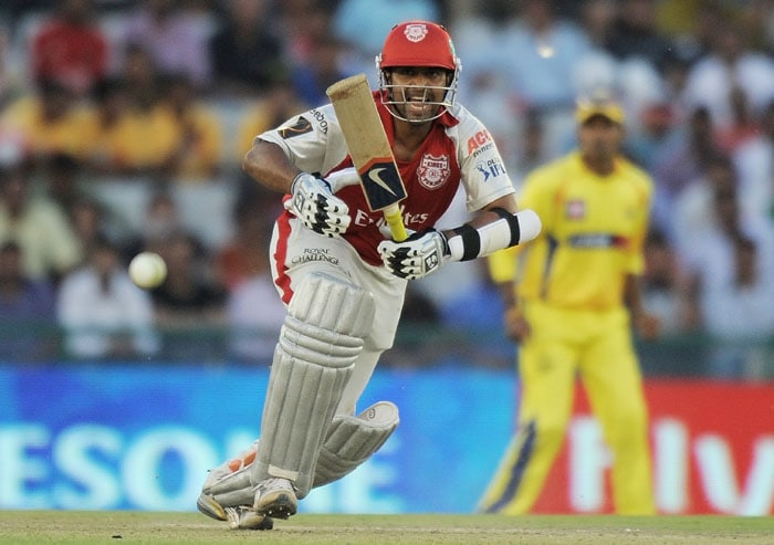 Kings XI Punjab batsman Paul Valthaty plays a shot during the IPL Twenty20 match against Chennai Super Kings at the Punjab Cricket Association (PCA) stadium in Mohali. (AFP PHOTO)
