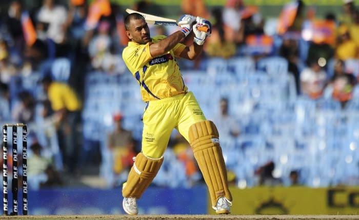 Mahendra Singh Dhoni plays a shot during the IPL Twenty20 match between Chennai Super Kings and Royal Challengers Bangalore at the M.A. Chidambaram Stadium in Chennai. (AFP Photo)