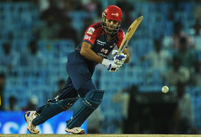 Irfan Pathan plays a shot during the IPL Twenty20 match between Chennai Super Kings and Delhi Daredevils at the M.A.Chidambaram Stadium in Chennai. (AFP Photo)
