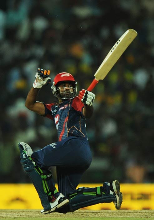 Venugopal Rao plays a shot during the IPL Twenty20 match between Chennai Super Kings and Delhi Daredevils at the M.A.Chidambaram Stadium in Chennai. (AFP Photo)