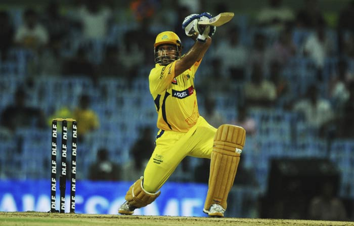 Mahendra Singh Dhoni plays a shot during the IPL Twenty20 match between Chennai Super Kings and Delhi Daredevils at the M.A.Chidambaram Stadium in Chennai. (AFP Photo)