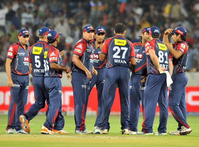 James Hopes celebrates the wicket of Kumar Sangakkara during the IPL Twenty20 match between the Delhi Daredevils and the Deccan Chargers at the Rajiv Gandhi International Stadium in Hyderabad. (AFP Photo)