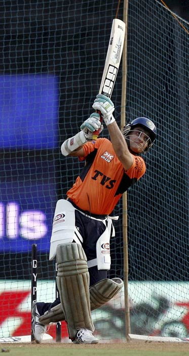 Sourav Ganguly bats during a warm-up session before the IPL 4 match against Mumbai Indians in Mumbai. (PTI Photo)