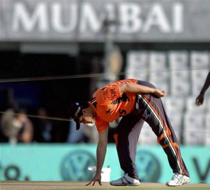 Sourav Ganguly checks the pitch before the IPL 4 match against Mumbai Indians in Mumbai. (PTI Photo)