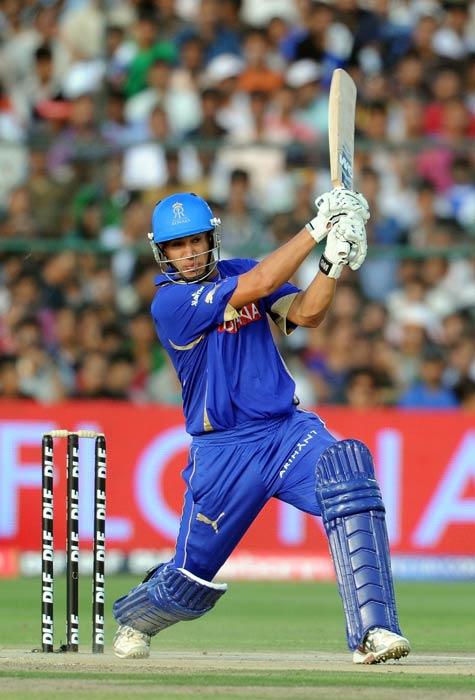 Ross Taylor plays a shot during the IPL Twenty20 match between Rajasthan Royals and Kolkata Knight Riders at the Sawai Man Singh Stadium in Jaipur. (AFP Photo)