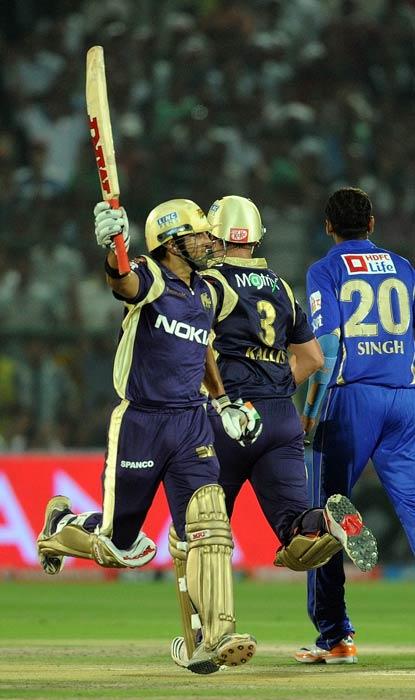 Gautam Gambhir celebrates victory during the IPL Twenty20 match between Rajasthan Royals and Kolkata Knight Riders at the Sawai Man Singh Stadium in Jaipur. Kolkata Knight Riders won by 9 wickets. (AFP Photo)
