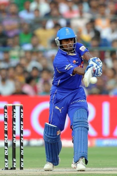 Amit Paunikar plays a shot during the IPL Twenty20 match between Rajasthan Royals and Kolkata Knight Riders at the Sawai Man Singh Stadium in Jaipur. (AFP Photo)