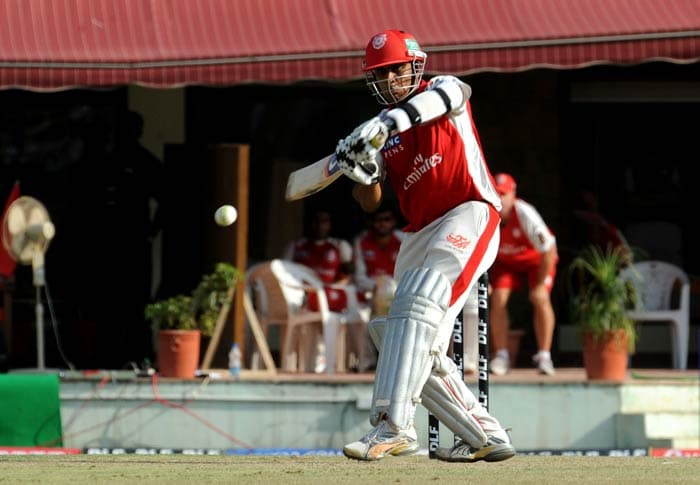 Paul Valthaty plays a shot during the IPL Twenty20 match between Delhi Daredevils and Kings XI Punjab at Himachal Pradesh Cricket Association stadium in Dharamsala. (AFP Photo)