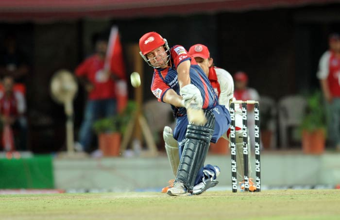 James Hopes plays a shot during the IPL Twenty20 match between Delhi Daredevils and Kings XI Punjab at Himachal Pradesh Cricket Association stadium in Dharamsala. (AFP Photo)