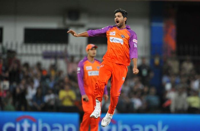 RP Singh celebrates after he dismissed Shaun Marsh during the IPL Twenty20 match between Kochi Tuskers Kerala and Kings XI Punjab at the Holkar Stadium in Indore. (AFP Photo)
