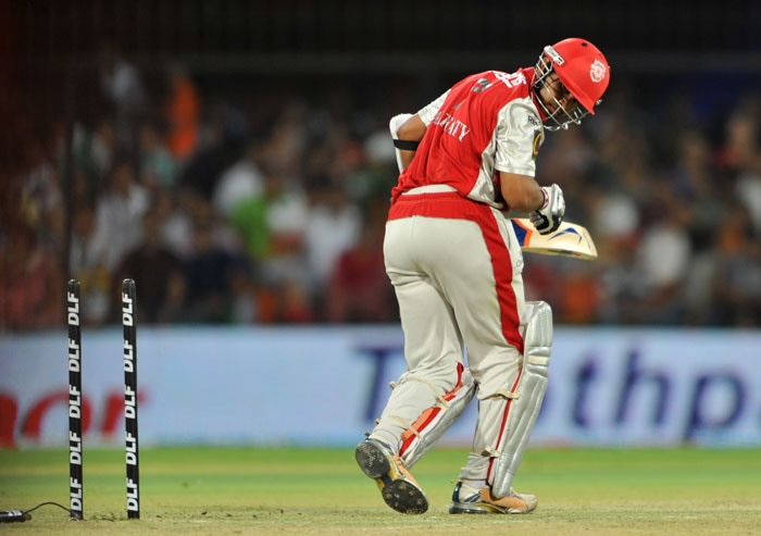 Paul Valthaty reacts after he was bowled out during the IPL Twenty20 match between Kochi Tuskers Kerala and Kings XI Punjab at the Holkar Stadium in Indore. (AFP Photo)