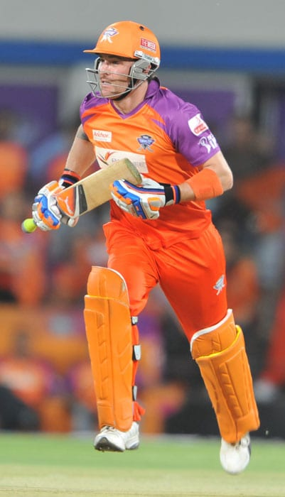 Brendon McCullum runs between the wickets during the IPL Twenty20 match between Kochi Tuskers Kerala and Kings XI Punjab at the Holkar Stadium in Indore. (AFP Photo)