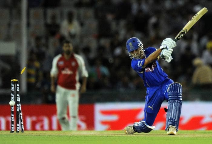 Rahul Dravid is bowled out by Chris Harris during the IPL Twenty20 match between Rajasthan Royals and Kings XI Punjab at the Punjab Cricket Association stadium in Mohali. (AFP Photo)
