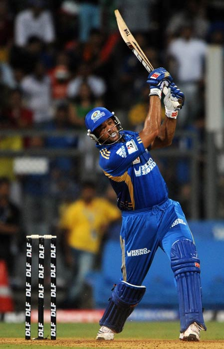 Andrew Symonds plays a shot during the IPL Twenty20 cricket match between Chennai Super Kings and Mumbai Indians at the Wankhede Stadium in Mumbai. (AFP Photo)