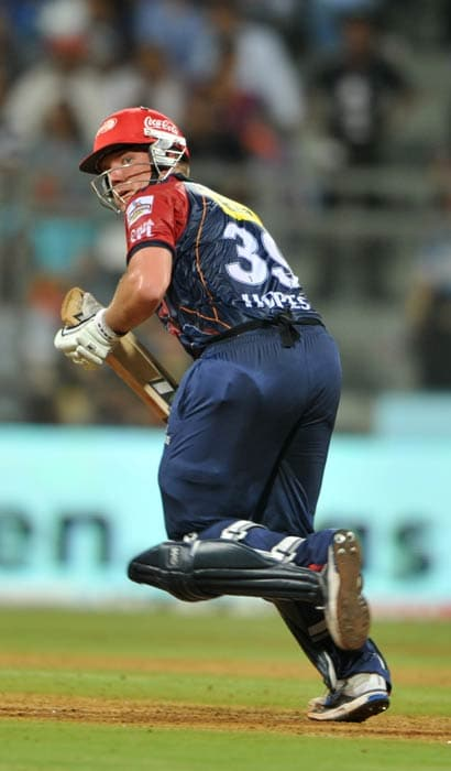 James Hopes watches the ball after he plays a shot during the IPL Twenty20 match between Mumbai Indians and Delhi Daredevils at the Wankhede Stadium in Mumbai. (AFP Photo)
