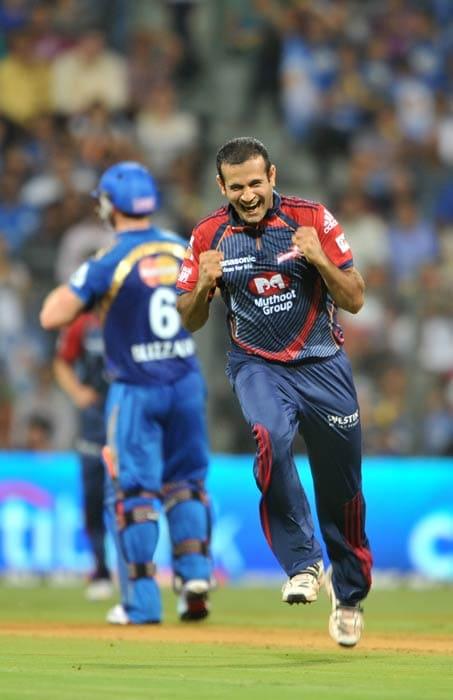 Irfan Pathan celebrates after the dismissal of Sachin Tendulkar during the IPL Twenty20 match between Mumbai Indians and Delhi Daredevils at the Wankhede Stadium in Mumbai. (AFP Photo)