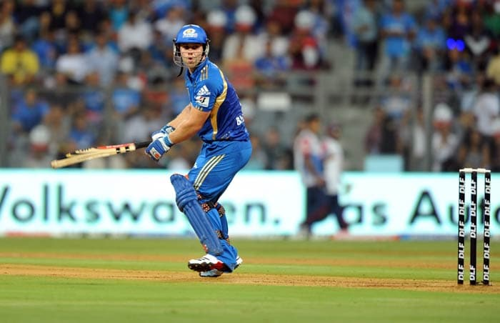 Aiden Blizzard eyes the ball during the IPL Twenty20 match between Mumbai Indians and Delhi Daredevils at the Wankhede Stadium in Mumbai. (AFP Photo)