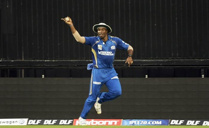 Kieron Pollard celebrates Paul Valthaty's wicket during the IPL match at the Wankhede Stadium in Mumbai. (AP Photo)