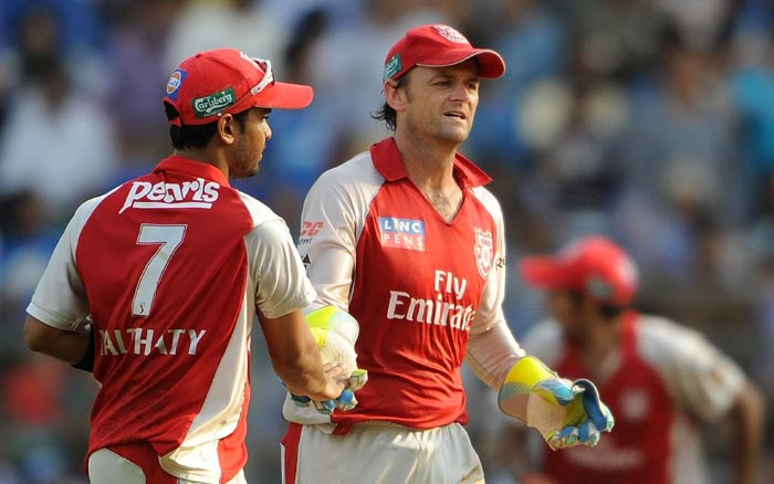 Adam Gilchrist celebrates with teammates after taking the wicket of Rohit Sharma during the IPL Twenty20 match between Mumbai Indians and Kings XI Punjab at the Wankhede Stadium in Mumbai. (AFP Photo)