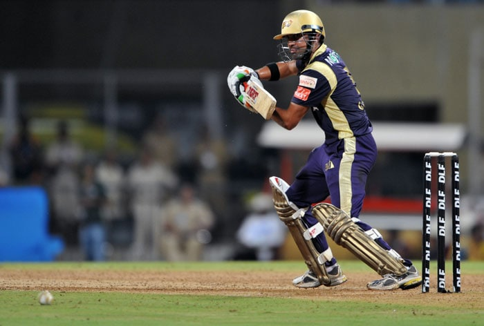 Gautam Gambhir plays a shot during the IPL Twenty20 match between Pune Warriors India and Kolkata Knight Riders at the DY Patil Stadium on the outskirts of Mumbai. (AFP Photo)