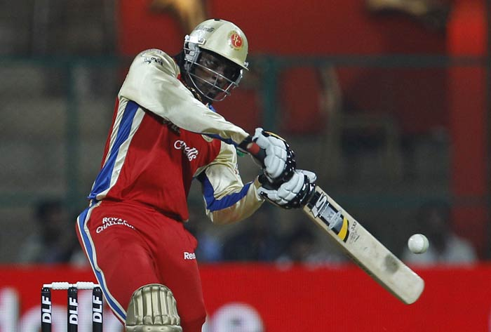 Chris Gayle bats during an Indian Premier League match between Royal Challengers Bangalore and Pune Warriors in Bangalore. (AP Photo)