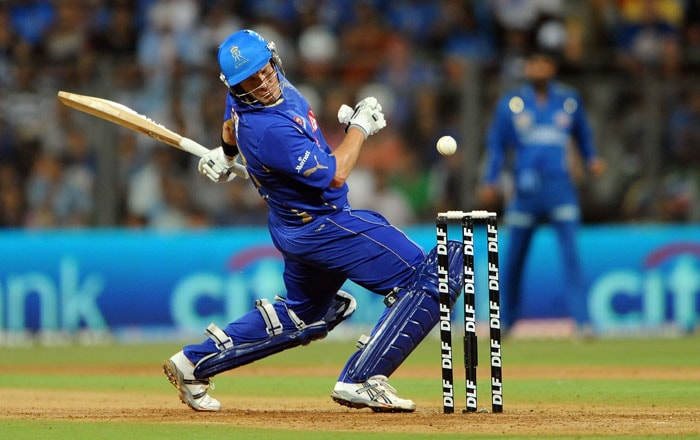 Shane Watson reacts after being hit by a delivery from Lasith Malinga during the IPL Twenty20 match between Rajasthan Royals and Mumbai Indians at the Wankhede Stadium in Mumbai. (AFP Photo)