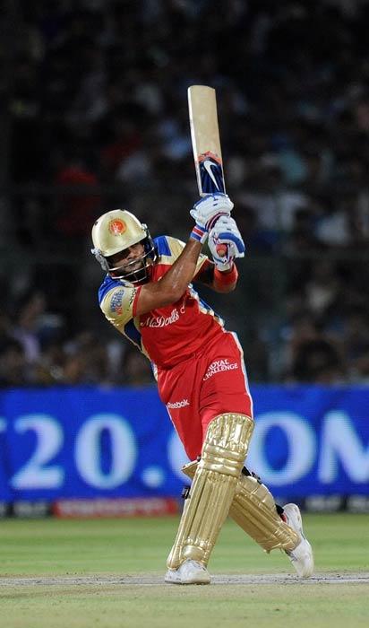 Virat Kohli plays a shot during the IPL Twenty20 match between Rajasthan Royals and Royal Challengers Bangalore at the Sawai Mansingh Stadium in Jaipur. (AFP Photo)