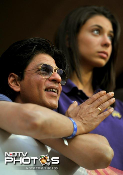 Bollywood actor and owner of Kolkata Knight Riders team Shah Rukh Khan watches the match during the IPL Twenty20 match between Royal Challengers Bangalore and Kolkata Knight Riders at the M. Chinnaswamy Stadium in Bangalore. (AFP Photo)