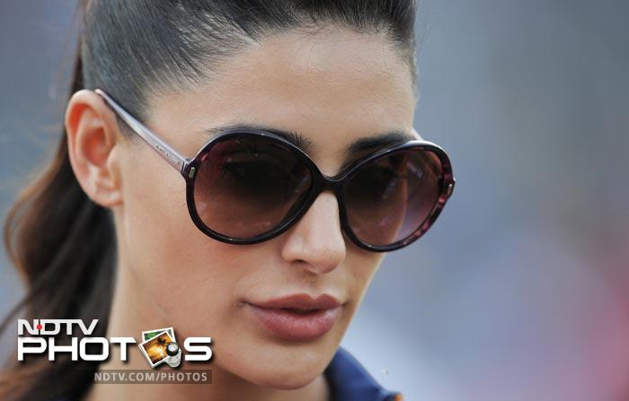 Earlier, Bollywood actress Nargis Fakhri was spotted during the IPL Twenty20 match between Deccan Chargers and Delhi Daredevils at the Feroz Shah Kotla stadium in New Delhi. (AFP Photo)