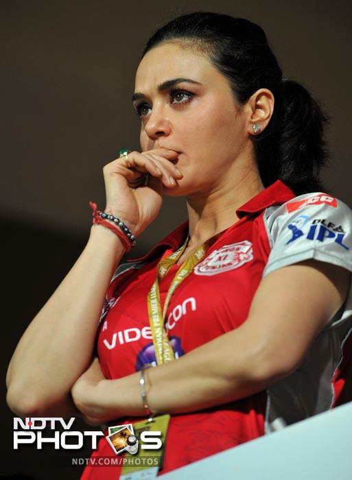 Preity had her share of tense moments during the IPL Twenty20 match between Royal Challenger Bangalore and Kings XI Punjab. (AFP Photo)