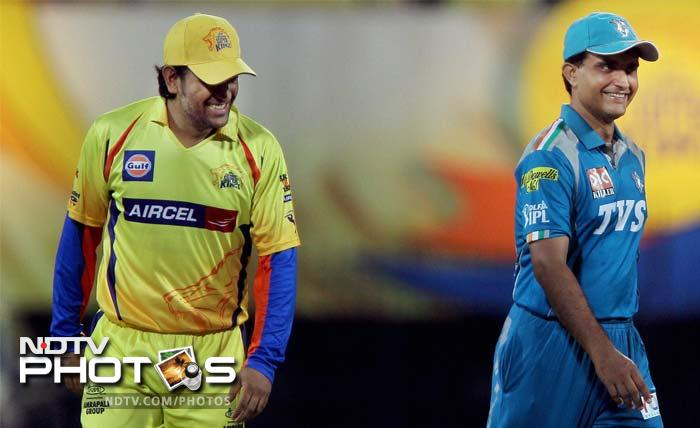 The captains of Chennai Super Kings MS Dhoni (L) and Pune Warriors Sourav Ganguly before their IPL match in Chennai. (PTI Photo)