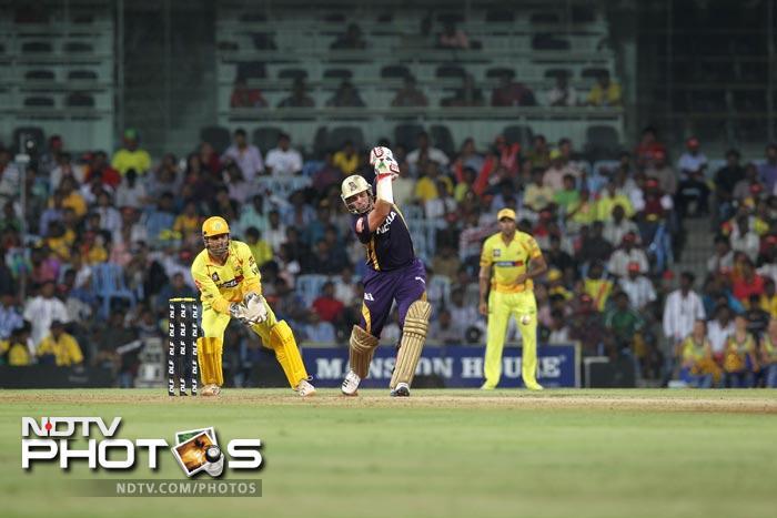 Jacques Kallis plays a shot during the IPL Twenty20 match between Chennai Super Kings and Kolkata Knight Riders at the M.A.Chidambaram Stadium in Chennai. (AFP Photo)