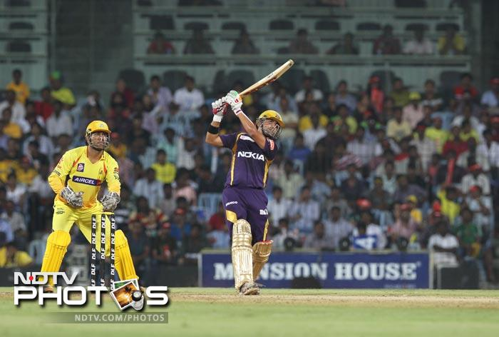 Gautam Gambhir plays a shot against the bowling of Shadab Jakati during the IPL Twenty20 match between Chennai Super Kings and Kolkata Knight Riders at the M.A.Chidambaram Stadium in Chennai. (AFP Photo)