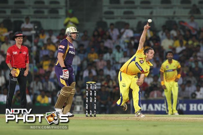 Albie Morkel bowls during the IPL Twenty20 match between Chennai Super Kings and Kolkata Knight Riders at the M.A.Chidambaram Stadium in Chennai. (AFP Photo)