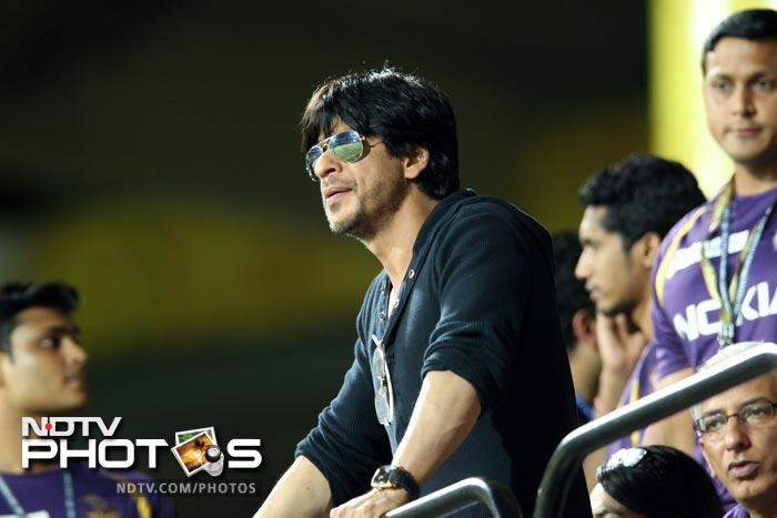 Kolkata Knight Riders owner and Bollywood actor Shah Rukh Khan watches the IPL T20 match between Chennai Super Kings and Kolkata Knight Riders at the M.A.Chidambaram Stadium in Chennai. (AFP Photo)