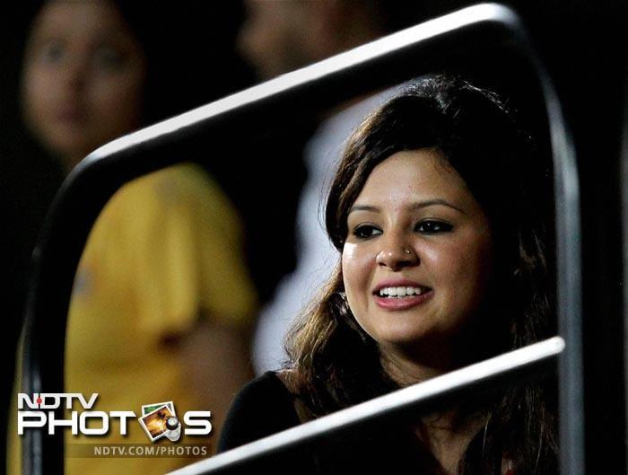 Chennai Super Kings captain MS Dhoni's wife Sakshi watches the match against Kolkata Knight Riders at MAC Stadium in Chennai on Monday. (PTI Photo)
