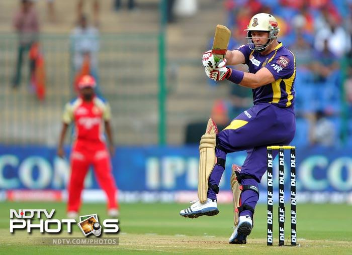 Jacques Kallis tries to play a shot during the IPL Twenty20 match between Royal Challengers Bangalore and Kolkata Knight Riders at the M. Chinnaswamy Stadium in Bangalore. (AFP Photo)
