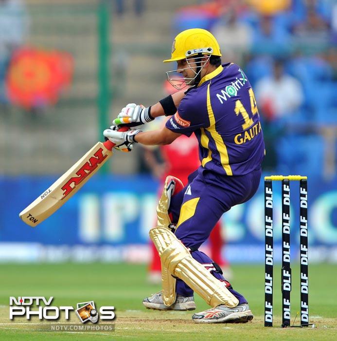 Gautam Gambhir plays a shot during the IPL Twenty20 match between Royal Challengers Bangalore and Kolkata Knight Riders at the M. Chinnaswamy Stadium in Bangalore. (AFP Photo)