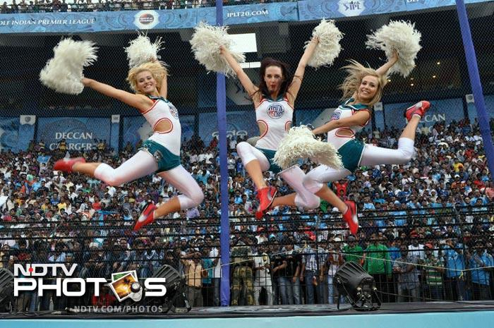 Cheerleaders perform during the IPL Twenty20 match between Pune Warriors India and Deccan Chargers at Barabati Stadium in Cuttack. (PTI Photo)