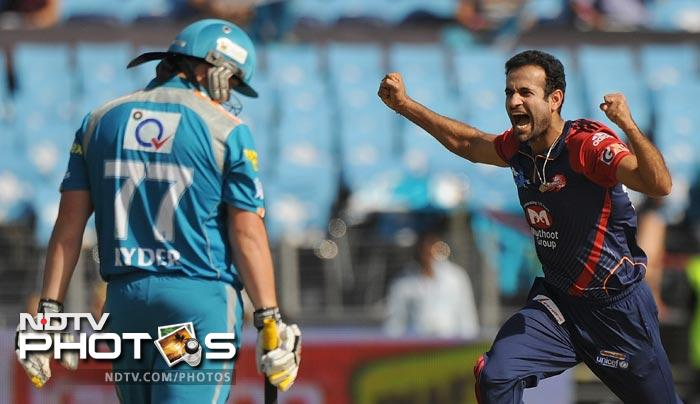 Irfan Pathan celebrates the wicket of Jesse Ryder during the IPL Twenty20 match between Pune Warriors India and Delhi Daredevils at the Sahara Stadium in Pune. (AFP Photo)