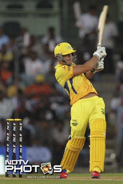 Faf du Plessis hits a six during the IPL Twenty20 match between Chennai Super Kings and Royal Challengers Bangalore at the M.A. Chidambaram Stadium in Chennai. (AFP Photo)
