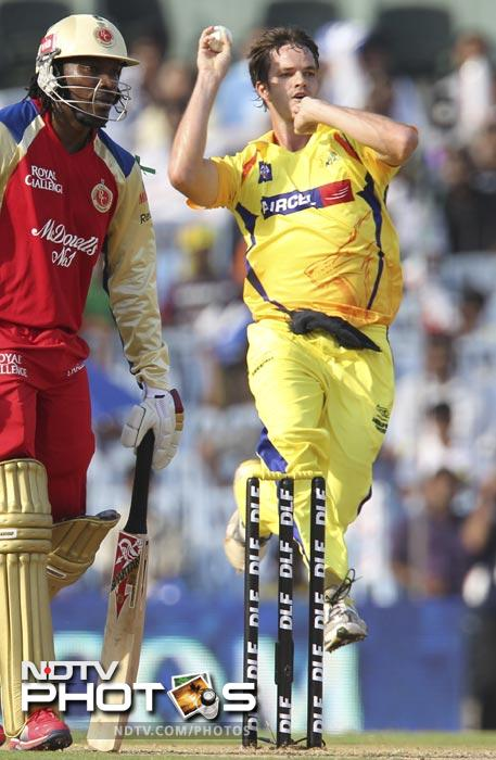 Albie Morkel bowls during the IPL Twenty20 match between Chennai Super Kings and Royal Challengers Bangalore at the M.A. Chidambaram Stadium in Chennai. (AFP Photo)