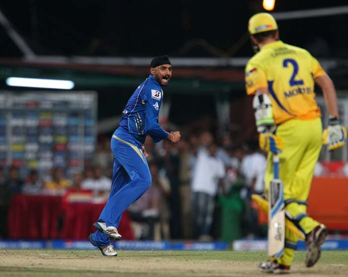 Harbhajan Singh is seen getting into the act.<br>Chennai batting could never recover from the early strikes and kept losing wickets in quick intervals. (BCCI image)