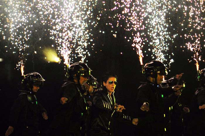 It was Shahrukh Khan himself who brought the successful opening ceremony to its gala end. He performed to different tunes from Bollywood, to a lot of cheering from the local fans here. (AFP PHOTO)